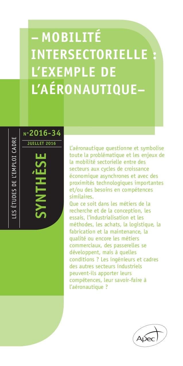 – MOBILITÉ INTERSECTORIELLE : L'EXEMPLE DE L'AÉRONAUTIQUE– LESÉTUDESDEL'EMPLOICADRE SYNTHÈSE JUILLET 2016 L'aéronautique q...