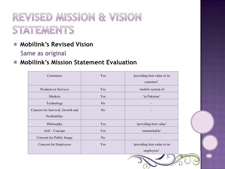 Mobilink's mission statement
