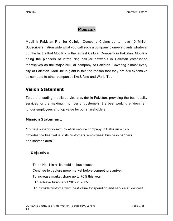 Mobilink                                                            Semester Project                                      ...