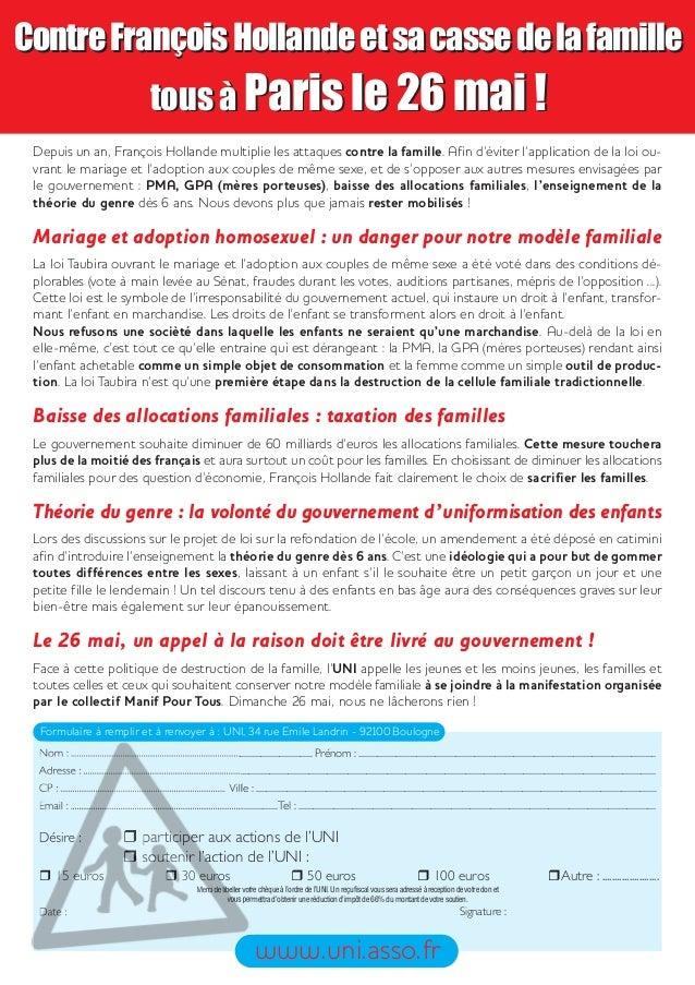 ContreFrançoisHollandeetsacassedelafamilletous à Paris le 26 mai !Depuis un an, François Hollande multiplie les attaques c...