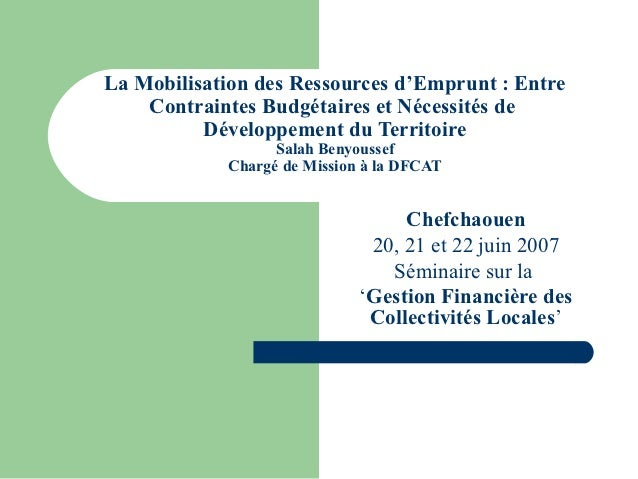 La Mobilisation des Ressources d'Emprunt : Entre    Contraintes Budgétaires et Nécessités de          Développement du Ter...
