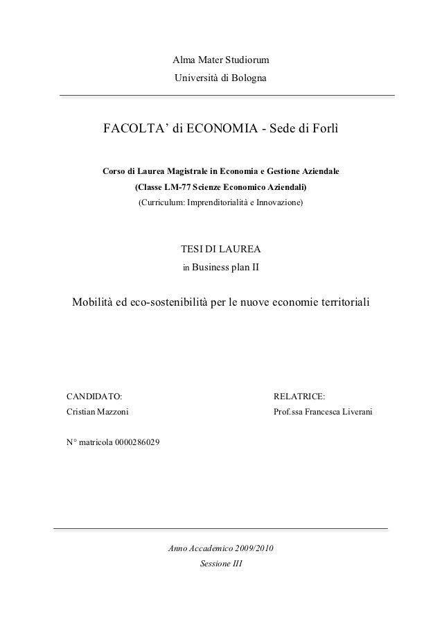 Alma Mater Studiorum                            Università di Bologna         FACOLTA' di ECONOMIA - Sede di Forlì        ...