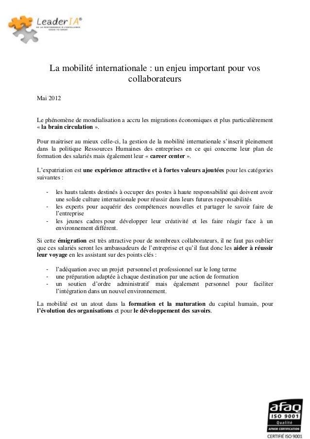 La mobilité internationale : un enjeu important pour vos                            collaborateursMai 2012Le phénomène de ...