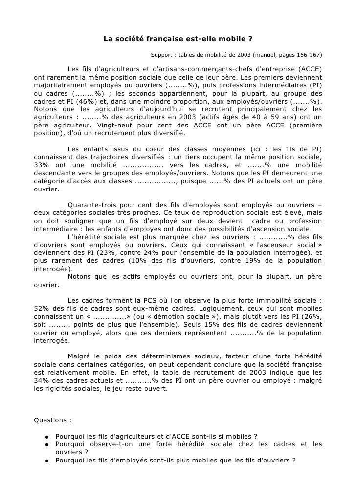 La société française est-elle mobile ?                                      Support : tables de mobilité de 2003 (manuel, ...