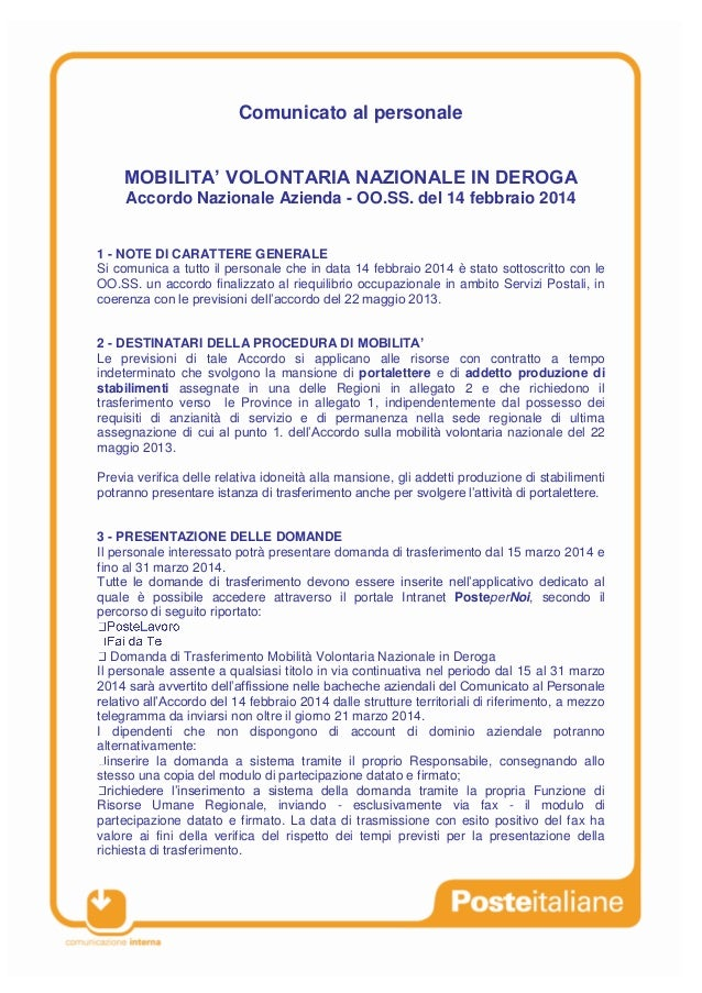 Comunicato al personale MOBILITA' VOLONTARIA NAZIONALE IN DEROGA Accordo Nazionale Azienda - OO.SS. del 14 febbraio 2014 1...