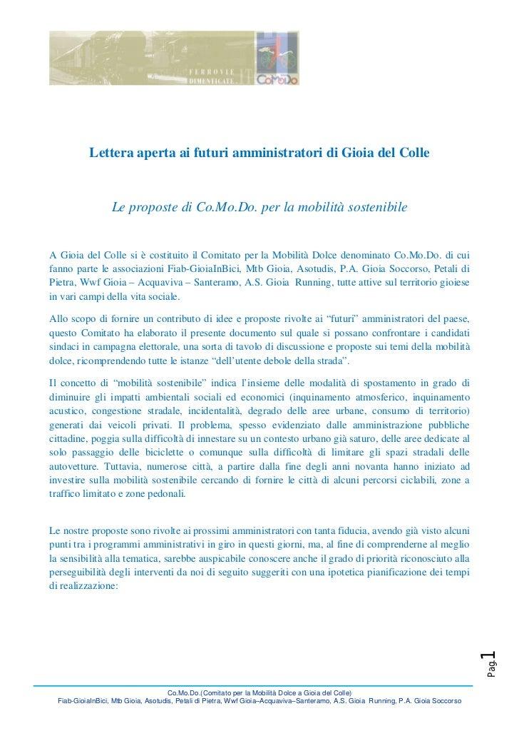 Lettera aperta ai futuri amministratori di Gioia del Colle                  Le proposte di Co.Mo.Do. per la mobilità soste...