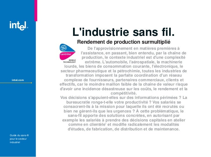 Lindustrie sans fil.                               Rendement de production surmultiplié                                   ...