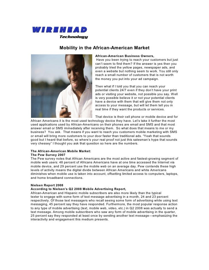 Mobility in the African-American Market                                           African-American Business Owners,       ...