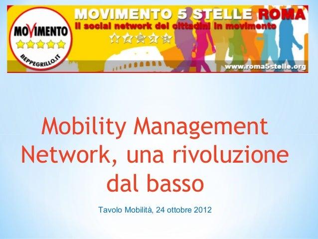 Mobility ManagementNetwork, una rivoluzione       dal basso      Tavolo Mobilità, 24 ottobre 2012