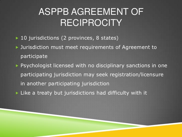 reciprocal agreements between states and provinces