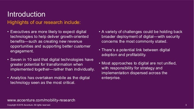 Growing the Digital Business: Accenture Mobility Research 2015 Slide 3