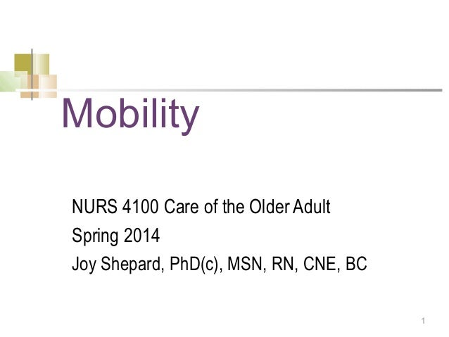 Mobility NURS 4100 Care of the Older Adult Spring 2014 Joy Shepard, PhD(c), MSN, RN, CNE, BC 1