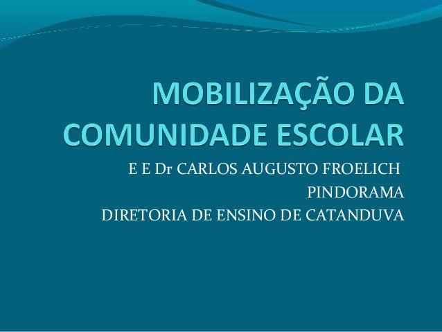 E E Dr CARLOS AUGUSTO FROELICH PINDORAMA DIRETORIA DE ENSINO DE CATANDUVA