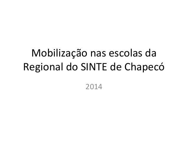 Mobilização nas escolas da Regional do SINTE de Chapecó 2014