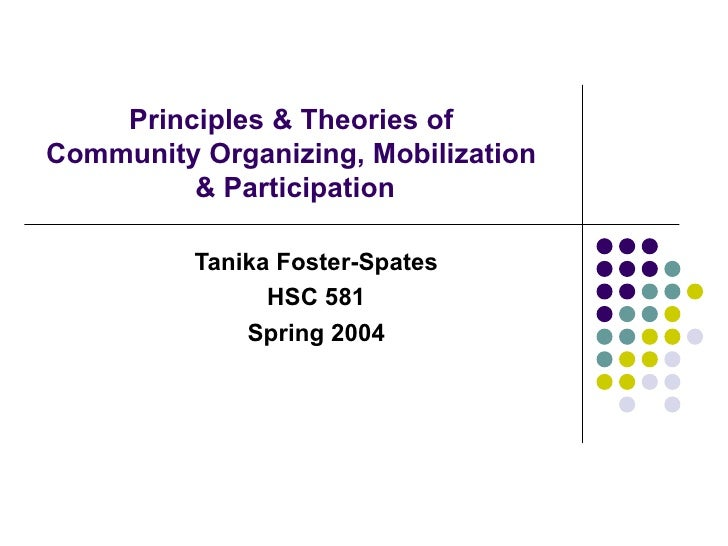 Principles & Theories of  Community Organizing, Mobilization  & Participation Tanika Foster-Spates HSC 581 Spring 2004