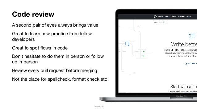 @otusweb Code review A second pair of eyes always brings value  Great to learn new practice from fellow developers  Great ...