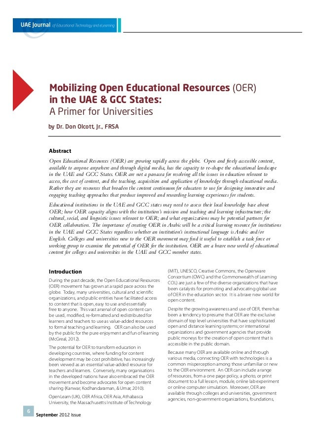 Mobilizing Open Educational Resources (OER) in the UAE & GCC States: A Primer for Universities by Dr. Don Olcott, Jr., FRS...