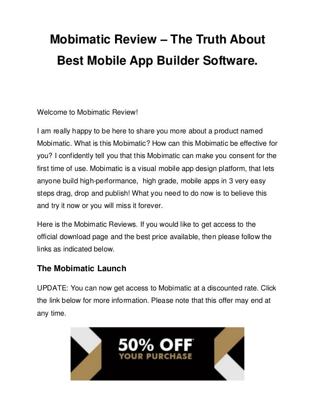 Mobimatic review – the truth about best mobile app builder