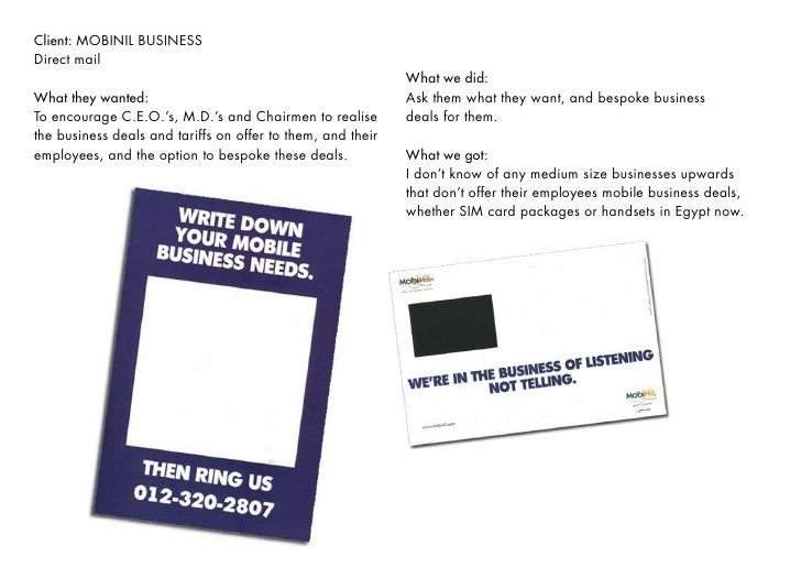 Client: MOBINIL BUSINESS Direct mail                                                              What we did:            ...