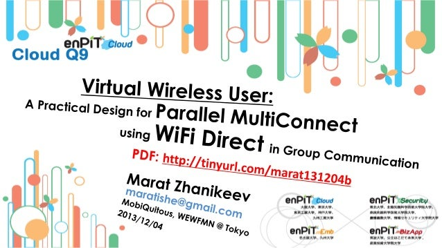 .  .  Connectivity: Defaults and Paralliziation  M.Zhanikeev -- maratishe@gmail.com --  Virtual Wireless User: Parallel Mu...