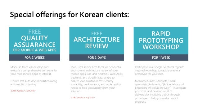 Special offerings for Korean clients: FREE QUALITY ASSUARANCE FOR MOBILE & WEB APPS FOR 2 WEEKS Mobiuso team will develop ...