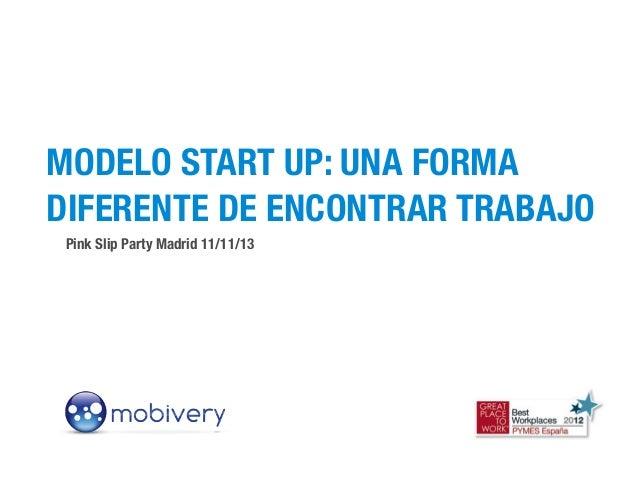 MODELO START UP: UNA FORMA DIFERENTE DE ENCONTRAR TRABAJO Pink Slip Party Madrid 11/11/13