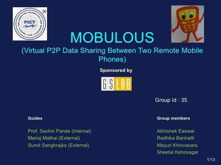 MOBULOUS (Virtual P2P Data Sharing Between Two Remote Mobile Phones) Sponsored by Guides Prof. Sachin Pande (Internal) Man...