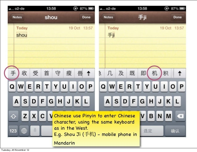 Chinese use Pinyin to enter Chinese                          character, using the same keyboard                          a...