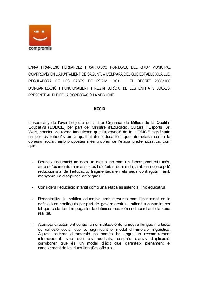 EN/NA FRANCESC FERNANDEZ I CARRASCO PORTAVEU DEL GRUP MUNICIPALCOMPROMÍS EN L'AJUNTAMENT DE SAGUNT, A LEMPARA DEL QUE ESTA...