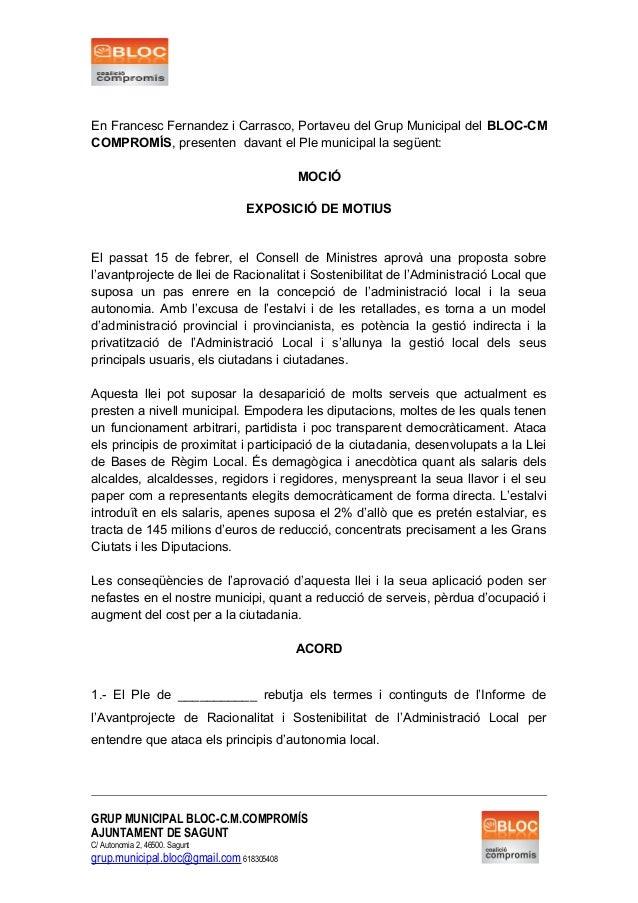 En Francesc Fernandez i Carrasco, Portaveu del Grup Municipal del BLOC-CMCOMPROMÍS, presenten davant el Ple municipal la s...