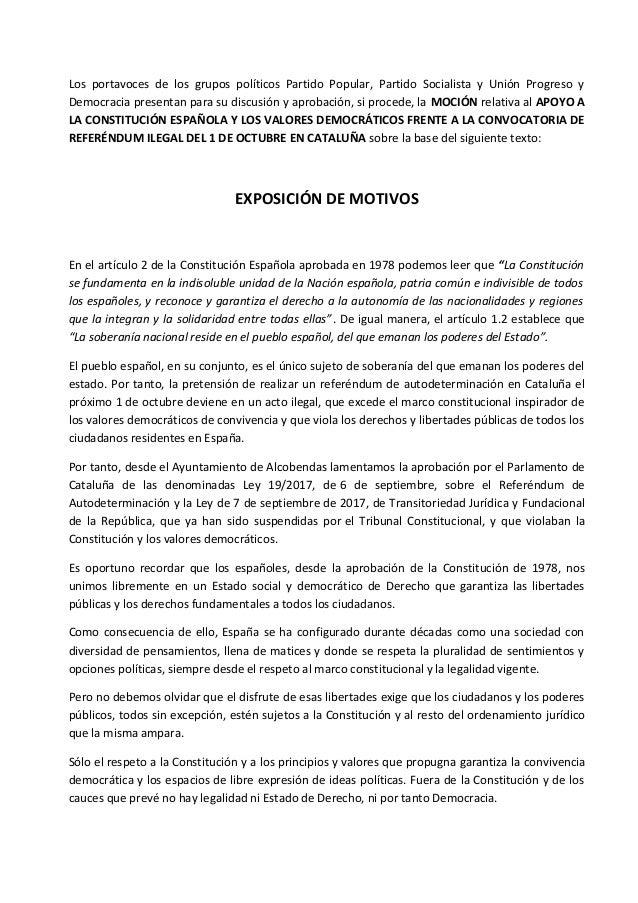 Moción Septiembre 2017 - Por la unidad de España y contra el desafío…
