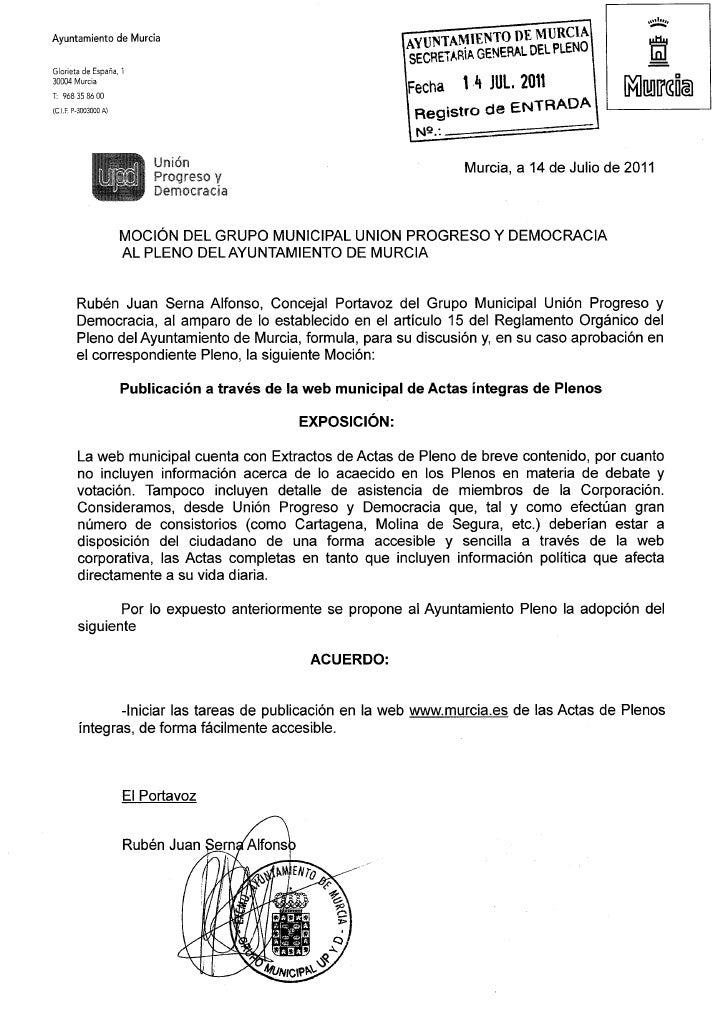 Moción sobre la publicación en la web municipal de las actas íntegras de los plenos