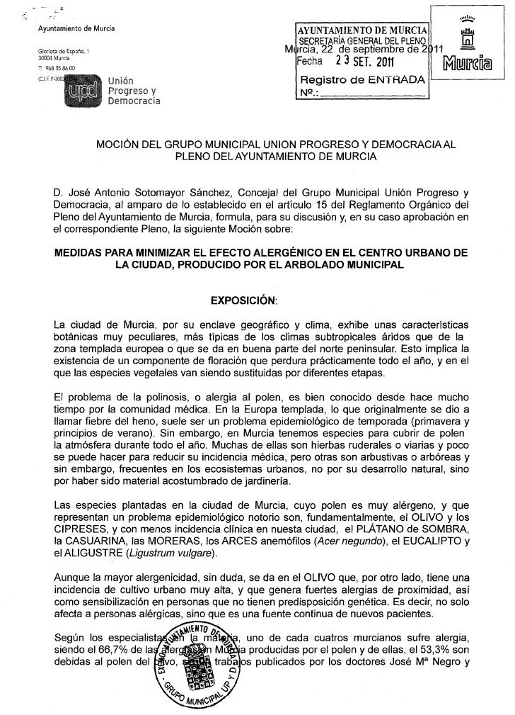 Moción sobre medidas para minimizar el efecto alergénico en el municipio de murcia