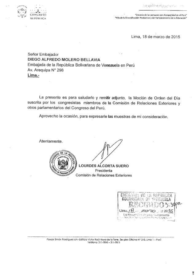 . 0:' _ .  l.  . _ . ...  Én- .  . l (¿UNL?  R150 1d ('(1111 ICA  Lima,  18 de marzo de 2015  Señor Embajador DIEGO ALFRED...