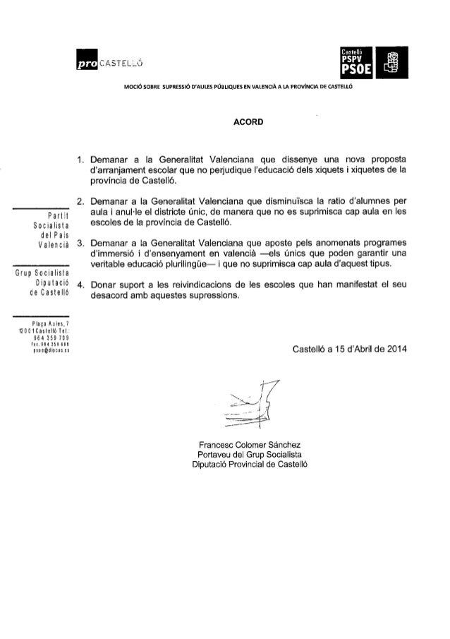 Mocion psoe aulas valenciano Slide 2