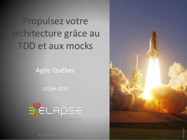 ©2012ElapseTechnologies© 2013 Elapse Technologies© 2013 Elapse TechnologiesPropulsez votrearchitecture grâce auTDD et aux ...