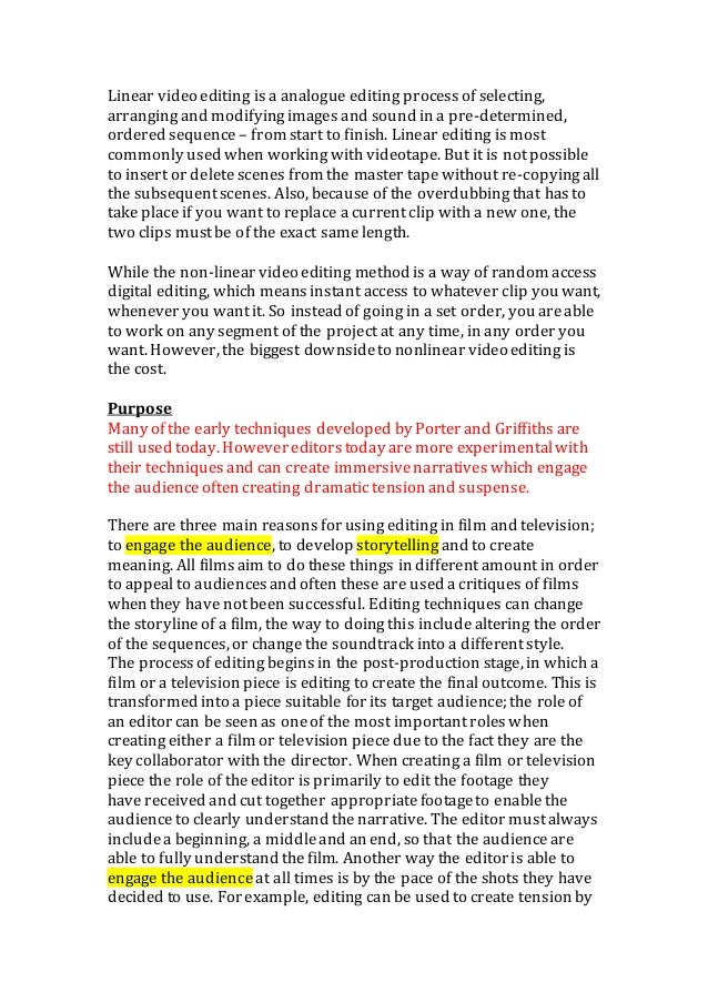 Editing An Essay  Romefontanacountryinncom Film And Video Editing Techniques Essay  Editing An Essay High School Vs College Essay Compare And Contrast also Political Science Essay Examples Of English Essays