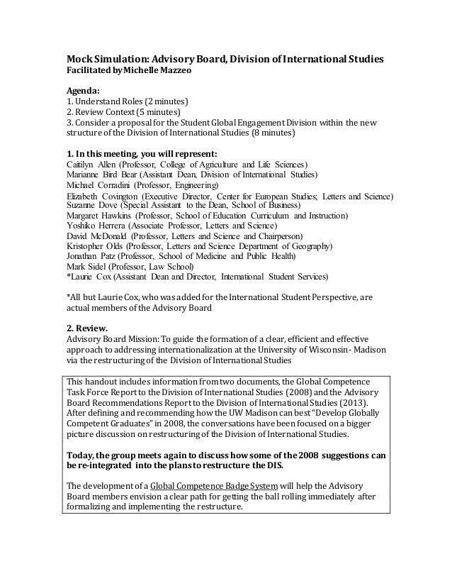 Mock Advisory Board Meeting Agenda Global Competence Badge Proposal