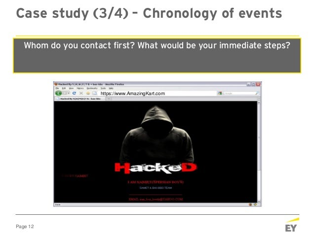 """Page 12 """"Your website has been hacked WE OWN YOU!"""" At 1920 hours, Friday The CEO receives a text Case study (3/4) – Chrono..."""