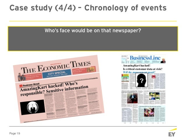 Page 19 Case study (4/4) – Chronology of events At 0700 hours, Sat The news of the hack is now published in all the leadin...