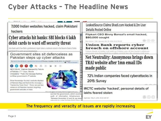 Page 3 Cyber Attacks – The Headline News The frequency and veracity of issues are rapidly increasing