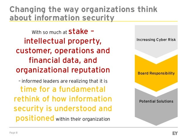 Page 8 Changing the way organizations think about information security With so much at stake – intellectual property, cust...