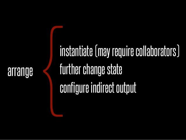 arrange          {          instantiate (may require collaborators)          further change state          configure indir...