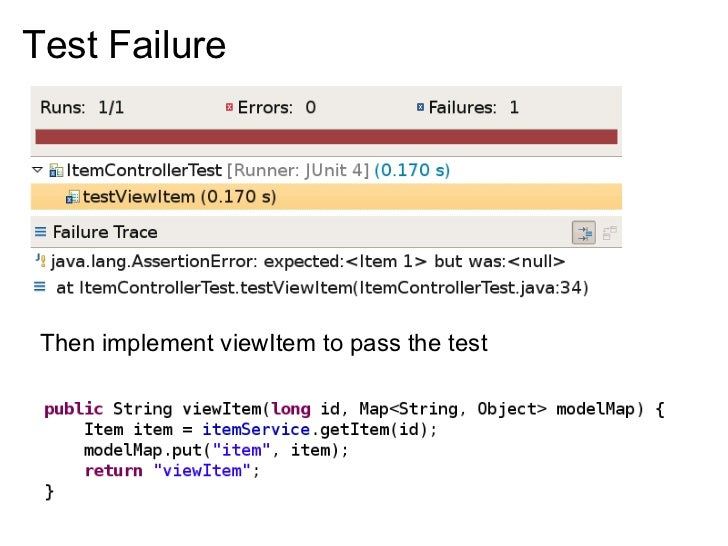 Test Failure      Then implement viewItem to pass the test