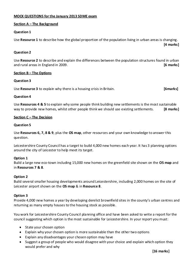 MOCK QUESTIONS for the January 2013 SDME examSection A – The BackgroundQuestion 1Use Resource 1 to describe how the global...