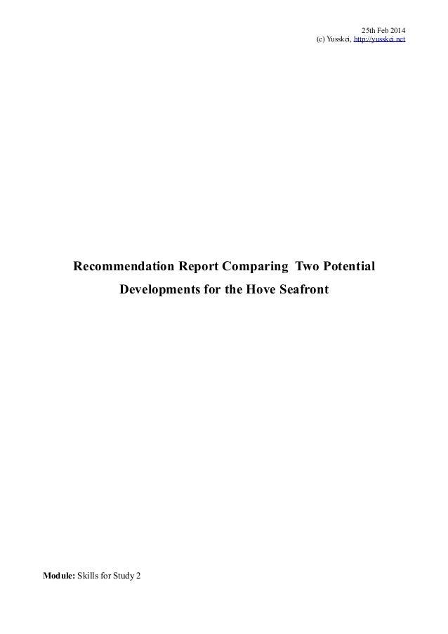 Recommendation Report Of City Development