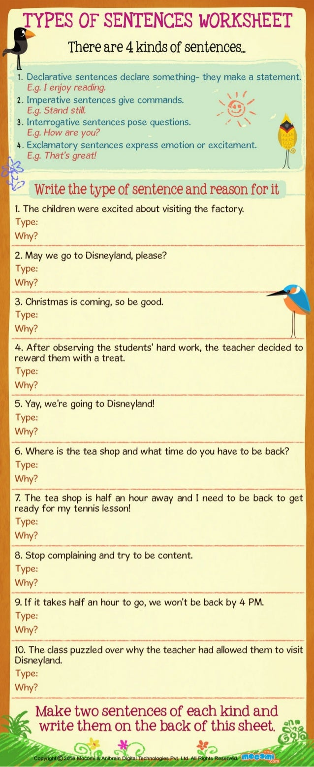 Types of Sentences Worksheet for Kids Mocomi – Declarative Sentence Worksheet