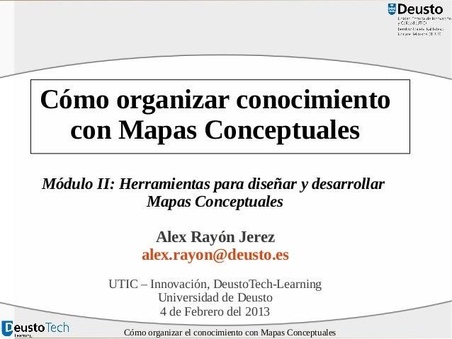 Cómo organizar conocimiento con Mapas Conceptuales Módulo II: Herramientas para diseñar y desarrollar Mapas Conceptuales A...