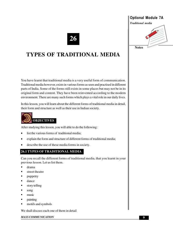 Types of Traditional Media                                                             Optional Module 7A                 ...