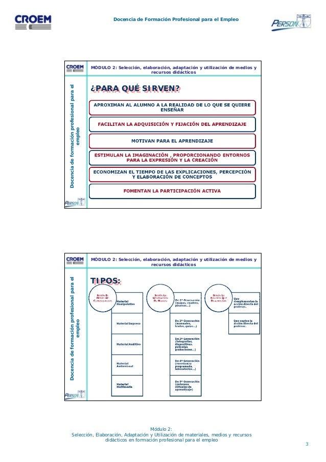 3 Docencia de Formación Profesional para el Empleo Módulo 2: Selección, Elaboración, Adaptación y Utilización de materiale...